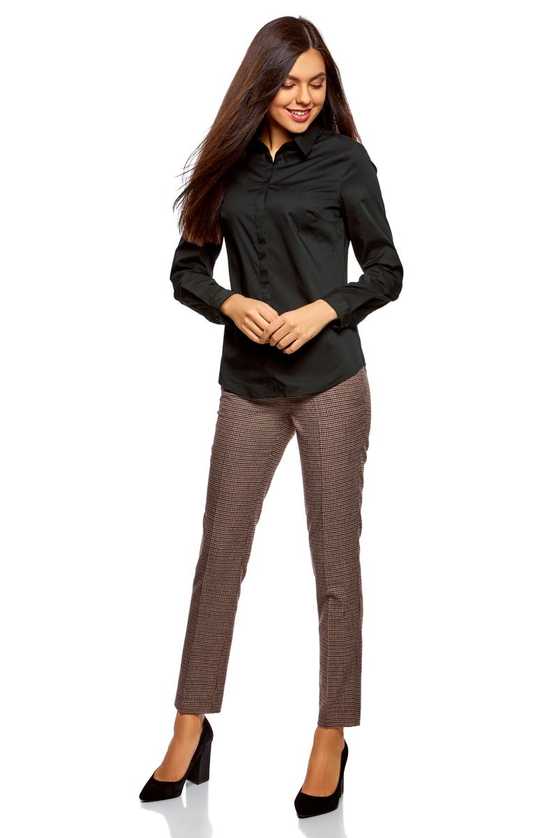 Рубашка женская oodji Ultra, цвет: черный. 13K03003B/42083/2900N. Размер 38-170 (44-170)13K03003B/42083/2900NРубашка базовая приталенного силуэта