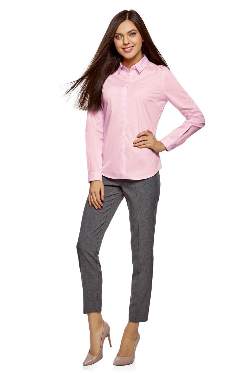 Рубашка женская oodji Ultra, цвет: светло-розовый. 13K03003B/42083/4001N. Размер 36-170 (42-170)13K03003B/42083/4001NРубашка от oodji выполнена из хлопкового материала. Модель приталенного силуэта с длинными рукавами и отложным воротником на груди застегивается на пуговицы.