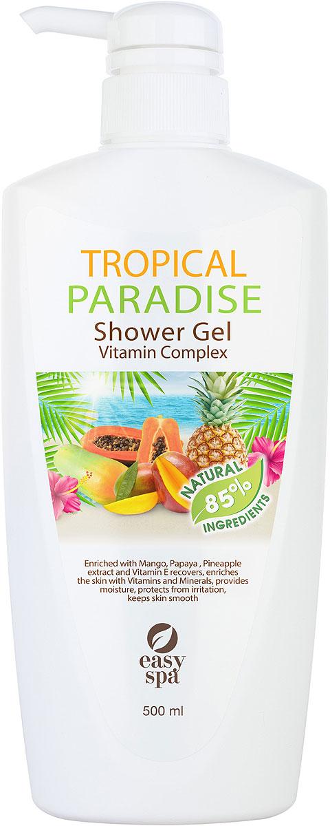 Easy Spa Гель для душа витаминный Tropical Paradise, 500 мл61356Витаминный гель для душа с экстрактами манго, папайи, ананаса и витамином Е. Бережно очищает кожу, заряжая ее энергией витаминов,глубоко питает , обладает мягким отшелушивающим эффектом,тонизирует и освежает.Экстракты папайи, ананаса стимулируют процессы регенерации кожи, способствуют интенсивному увлажнению , замедляют процессы старения .