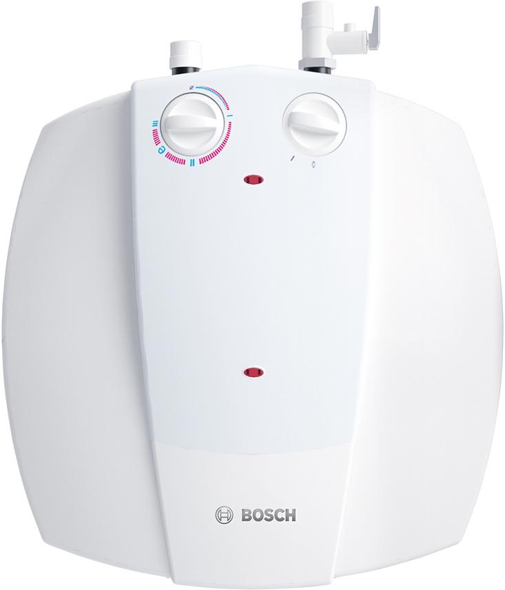 Водонагреватель электрический накопительный Bosch Tronic 2000T mini, 10 л, 1500 Вт. BO M1R-KNWVT7736502058Несмотря на свои небольшие размеры и объем в 10 и 15 литров, техническое оснащение и качество компонентов водонагревателей Tronic 2000T minitank полностью соответствуют техническим характеристикам моделей Tronic объемом от 30 до 150 литров. Удобное механическое регулирование температуры нагреваУправление температурой нагрева осуществляется с помощью ручки регулятора на фронтальной панели водонагревателя. Таким образом, при установке температуры до 70С водонагреватель будет постоянно поддерживать заданное значение при работе. Быстрый нагрев благодаря мощному тэнуМощность тена составляет 1,5 кВт. Благодаря этому время нагрева воды с 15 до 65 градусов составляет 23 и 35 минут. Все модели оборудованы термометром для отображения степени нагрева горячей воды.Защита от перегреваСтержневой термостат обеспечивает защиту от перегрева в водонагревателе. Представляет из себя трубку небольшого диаметра. При нагреве трубка расширяется и давит на выключатель, который в свою очередь прекращает процесс нагрева.Низкие теплопотери благодаря уникальной теплоизоляции, толщиной 20 ммБлагодаря уникальной полиуретановой теплоизоляции моделей Tronic теплопотери для модели Tronic 2000T minitank составляют около 1 кВт в сутки. Если температура падает ниже установленных значений (например, при продолжительном использовании горячей воды), то начинается процесс нагрева, который длится менее получаса.