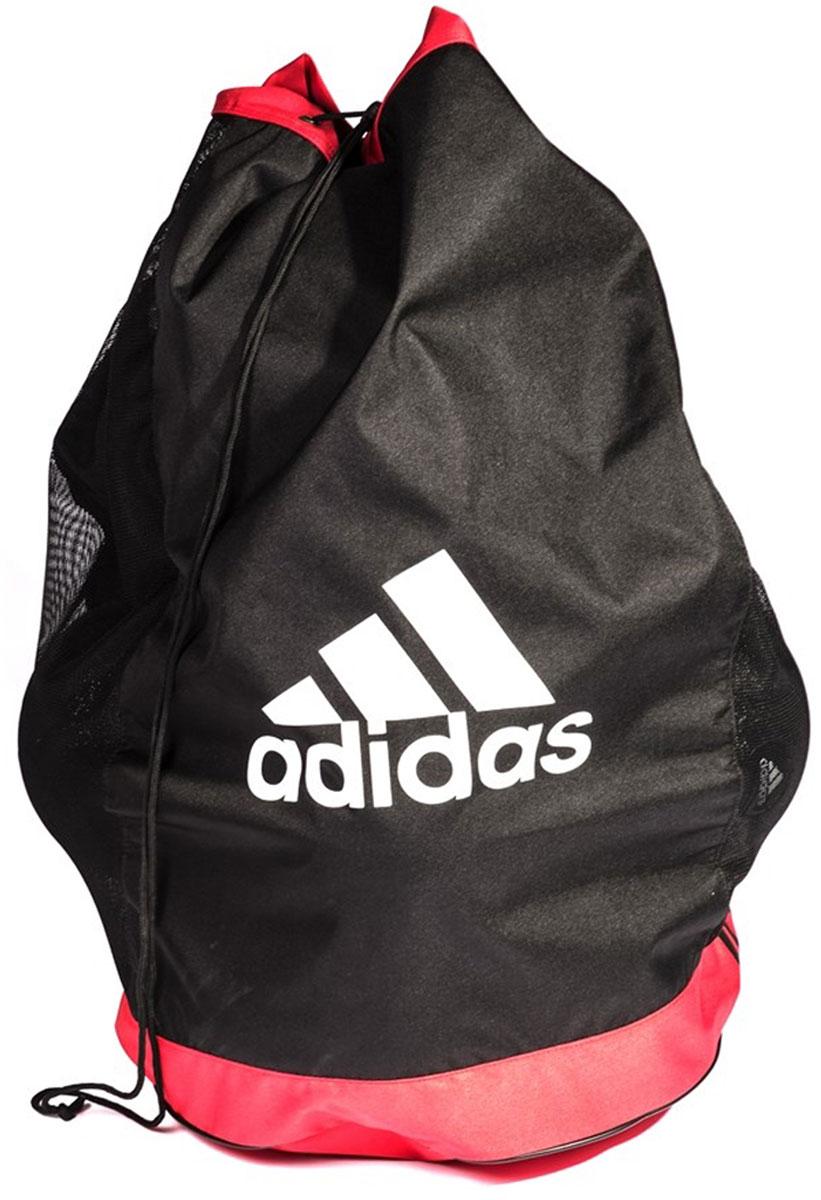 Сумка для мячей AdidasADAC-11605Качественные сумки для оснащения должны быть у любой хорошо организованной команды. Сумки Adidas подходят для футбольных мячей, мячей для регби и любых других; прочные и надежные, сумки выполнены из ткани и сетки, и все оснащение компактно помещается в них. Сумка Adidas – базовый спортивный аксессуар для хранения и перевозки мячей и оснащения к тренировочной площадке. Затягивается шнуром; вмещает до 10 мячей; лямки для переноски.Размер: 88 x 55 см. Материал: 90% полиэстер, 10% полиуретан.