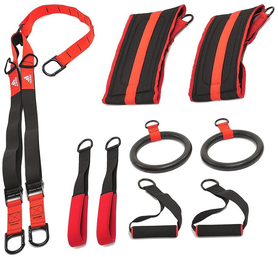 Набор для кроссфита Adidas CROSSFITADAC-12250Кроссфит - один из самых новых, радикальных и инновационных видов тренировок на силу, баланс и ловкость.Набор для кроссфита Adidas - это превосходное оборудование для эффективной силовой тренировки всего тела без поднятия тяжестей. Используя все компоненты набора - кольца, ручки, петли и ремни для пресса, вы сможете выполнять различные упражнения на мышцы верней и нижней частей туловища.Универсальный крюк позволяет подвешивать ремни вертикально и горизонтально. Ручки для рук, и петли для ног можно легко поменять местами для быстрой смены нагрузки и для интервальной тренировки высокой интенсивности (HIIT), а дополнительные широкие ремни идеальны для усложненных упражнений на укрепление мышц пресса.План тренировок с набором для подвесного тренинга Adidas состоит из четырех фаз. Чтобы тренировки были эффективными, безопасными и веселыми, необходимо выполнять фазы поочередно, начиная с первой.Фаза 1Фаза один - это отработка базовых движений для укрепления верхней части тела — основа всех последующих упражнений, позволяющая вам двигаться правильно и тренироваться эффективно. Это необходимые навыки для перехода ко второй, третьей и четвертой фазам, предлагающим более продвинутые упражнения.Фаза 2У каждого человека есть доминирующая сторона тела. Последовательности упражнений в этой фазе создают нагрузки на левую и правую стороны тела независимо. Это помогает уменьшить дисбаланс мышц и равномерно тренировать и укреплять все тело.Фаза 3Третья стадия тренировочного плана состоит из разнообразных упражнений, тренирующих ваше тело под всеми возможными углами, бросая вызов балансу, отработанному в первых двух фазах, и помогая развить большую силу и равновесие. Фаза 4Завершающая фаза предлагает быструю смену нагрузок и упражнений при точном и правильном их выполнении. Эта фаза позволит развить мышечную и кардиоваскулярную выносливость. В комплект входят широкие ремни для пресса. В комплект входят ручки и петли. Кольца, ручки и петли л