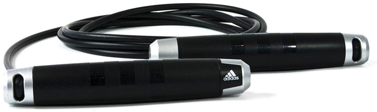 Скакалка Adidas Skipping Rope, цвет: черный, 3 мADRP-11011Прыжки со скакалкой издавна используются во всем мире для тренировки выносливости, скорости и ловкости. Скакалка Adidas легко регулируется и при необходимости может быть обрезана. Эта легкая скакалка быстро поможет вам сконцентрировать нагрузку на ноги, не требуя предварительного развития верхней части тела. Вы можете использовать скакалку как для низкоинтенсивной, так и для высокоинтенсивной тренировки, что даст вам возможность совершать короткие тренировки (6 минут) и достигать улучшений для сердечнососудистой системы. Удобные рукоятки позволяют тренироваться дольше и интенсивнее. Длина 3 м. Регулируется под рост пользователя.Легкие удобные рукоятки.