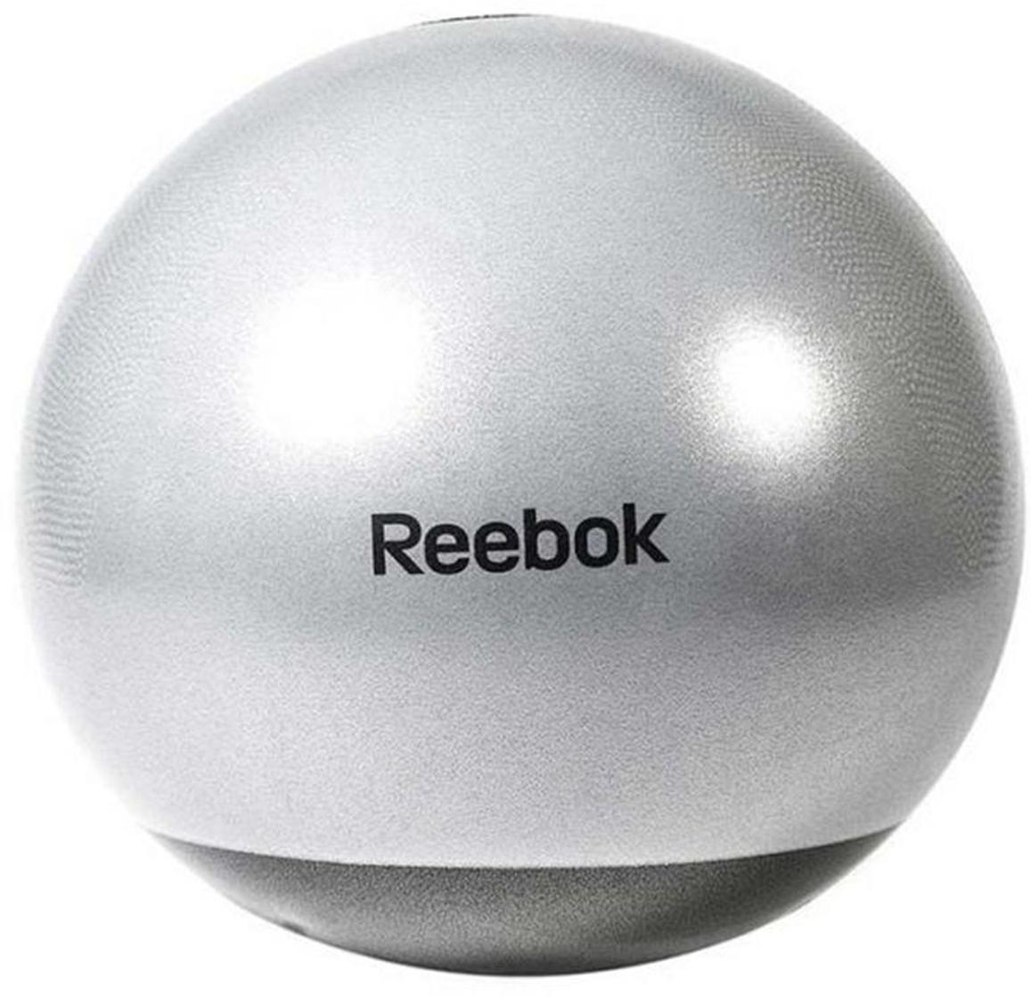 Мяч гимнастический Reebok, ативзрыв, с насосом и DVD, цвет: серый, диаметр 75 см