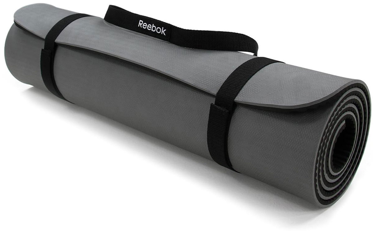Тренировочный коврик для фитнеса Reebok, нескользящий, цвет: серыйRAMT-11024GRSЧерно-серый фитнес-мат Reebok имеет толщину 8 мм, мягкое внешнее покрытие, размеры 173 x 61 см и подходит для всех видов растяжки и других упражнений. Его нескользящий материал позволит мату оставаться на месте на протяжение всей тренировки. Идеален для растяжки и общего фитнеса.Нескользящее текстурированное покрытие.Мягкое и удобное покрытие для тренировок.
