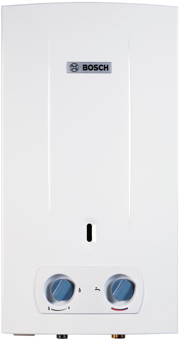 Водонагреватель газовый проточный Bosch W10 KB, 17,4кВт7736500992Базовая модель в линейке газовых проточных водонагревателей Therm 2000 O сочетает в себе все необходимые характеристики для обеспечения непрерывного и комфортного использования горячей воды. - Электронный розжиг от батареек 1,5V (x2) - Производительность 10 л/мин - Устойчивая работа при низком давлении в водопроводе (0.15 бар) - Раздельная регулировка по мощности и по протоку воды осуществляется вручную - Теплообменник из высококачественной меди - Атмосферная горелка из нержавеющей стали для природного или сжиженного газа - Ионизационный датчик контроля пламени - Предохранительный датчик от перегрева