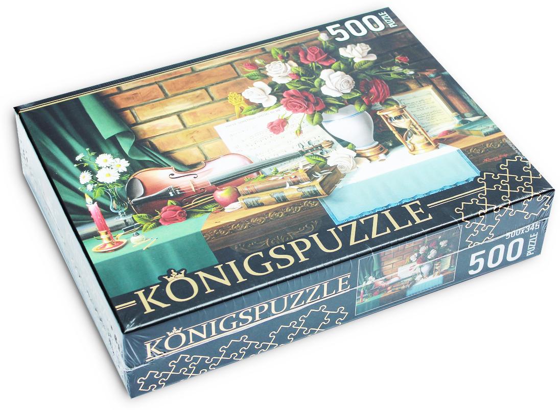 Konigspuzzle Пазл Цветочный натюрморт со скрипкой