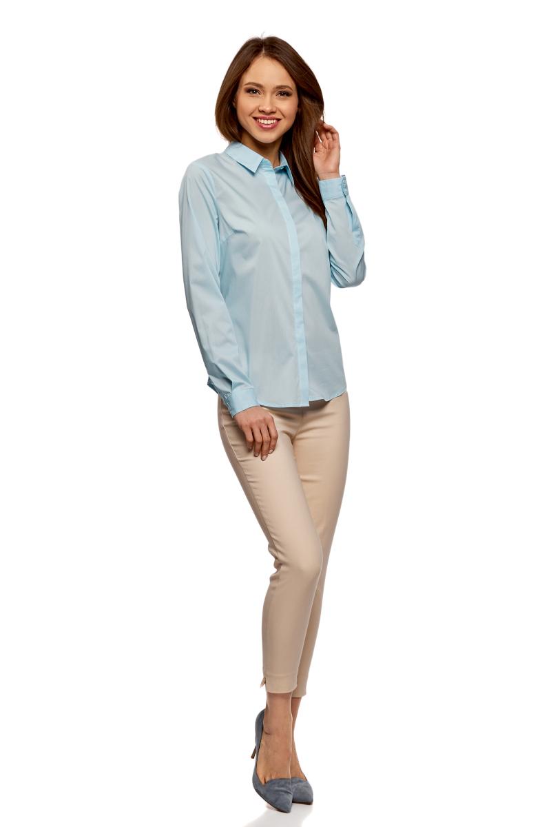 Рубашка женская oodji Ultra, цвет: голубой. 13K03003B/42083/7000N. Размер 40-170 (46-170)13K03003B/42083/7000NРубашка базовая приталенного силуэта
