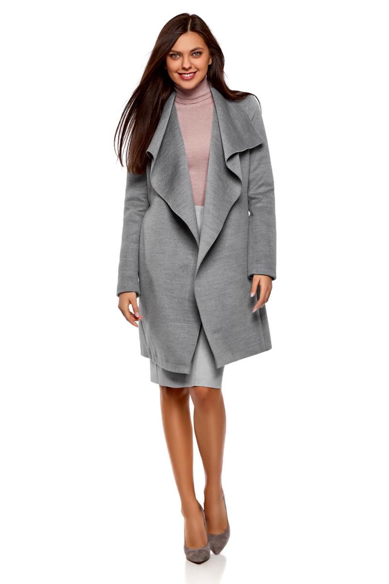 Пальто женское oodji Ultra, цвет: темно-серый меланж. 10104042-1/47736/2501M. Размер 36-170 (42-170)10104042-1/47736/2501MПальто без застежки с поясом