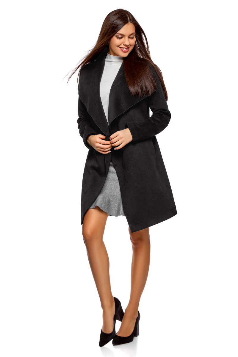 Пальто женское oodji Ultra, цвет: черный. 10104042-1/47736/2900N. Размер 38-170 (44-170)10104042-1/47736/2900NПальто без застежки с поясом