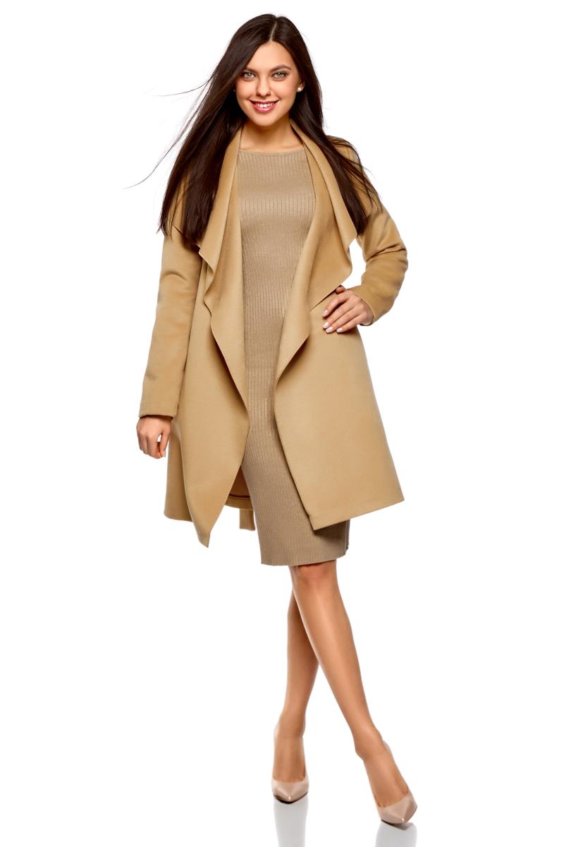 Пальто женское oodji Ultra, цвет: темно-бежевый. 10104042-1/47736/3500N. Размер 40-170 (46-170)10104042-1/47736/3500NПальто без застежки с поясом