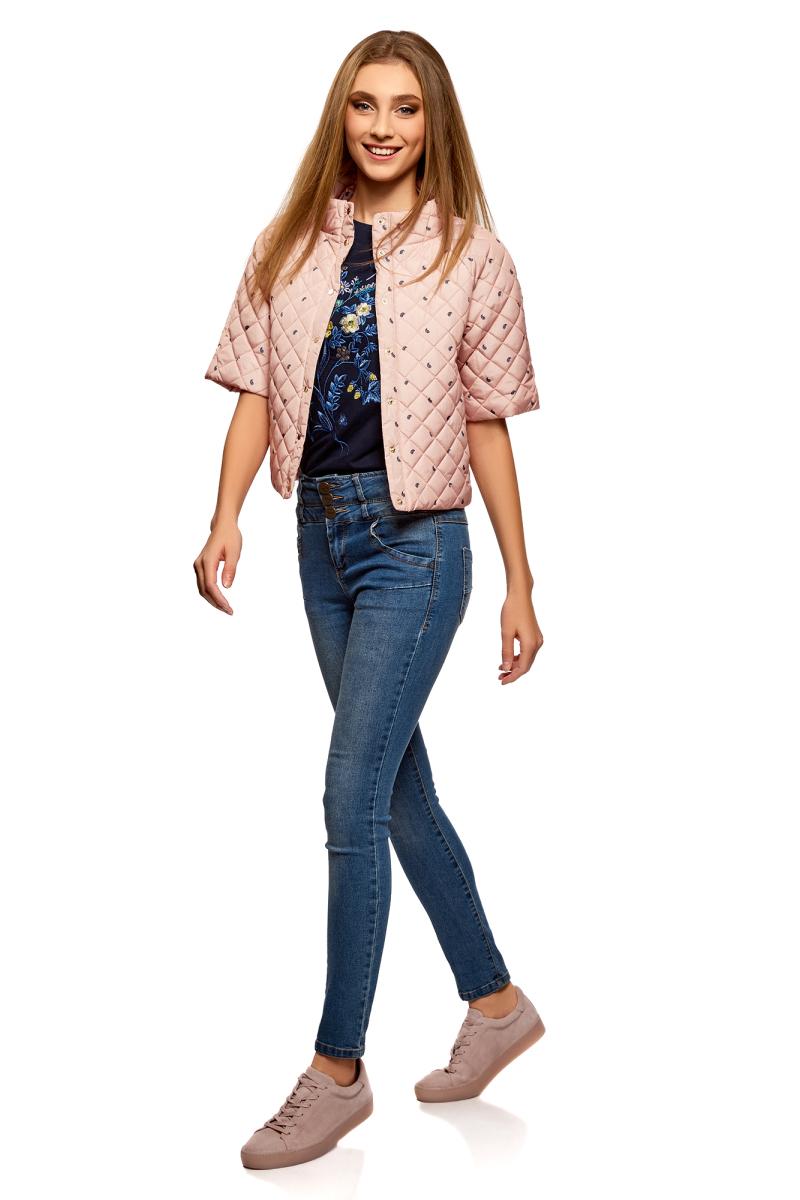 Куртка женская oodji Ultra, цвет: пыльный розовый, черный. 10207005/45419/4A29O. Размер 44-170 (50-170)10207005/45419/4A29OКуртка с короткими рукавами и воротником-стойкой