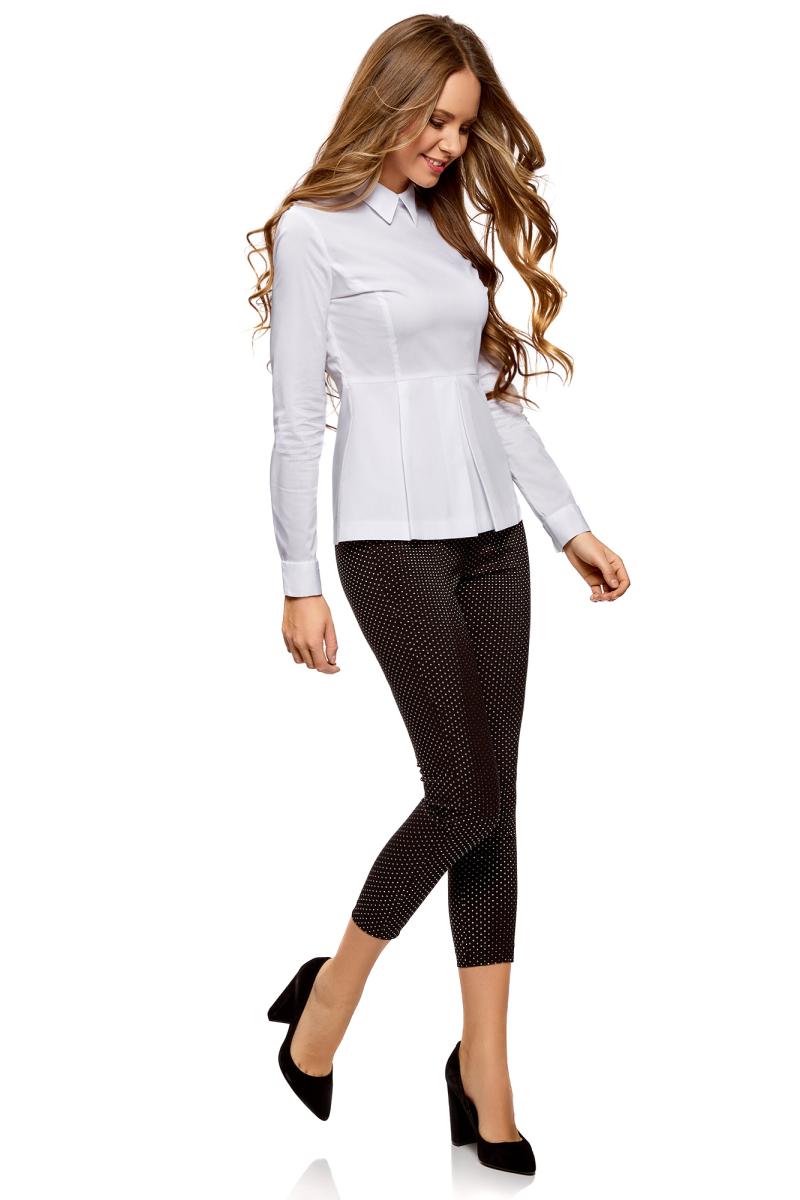 Блузка женская oodji Ultra, цвет: белый. 11400444B/42083/1000N. Размер 34-170 (40-170) юбка oodji ultra цвет белый 11605061 35319 1000n размер 44 170 50 170