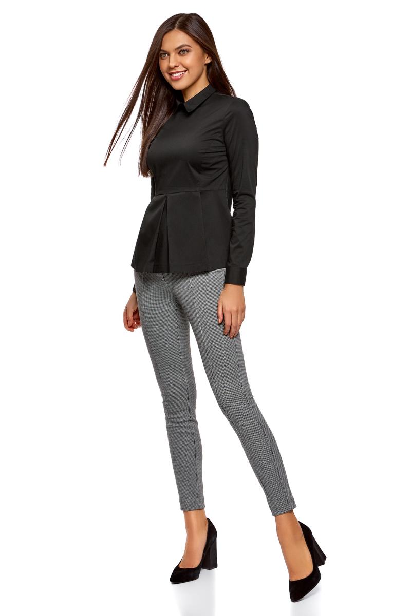 Блузка женская oodji Ultra, цвет: черный. 11400444B/42083/2900N. Размер 40-170 (46-170) блузка женская oodji ultra цвет черный 11411126 45873 2900n размер 40 46 170
