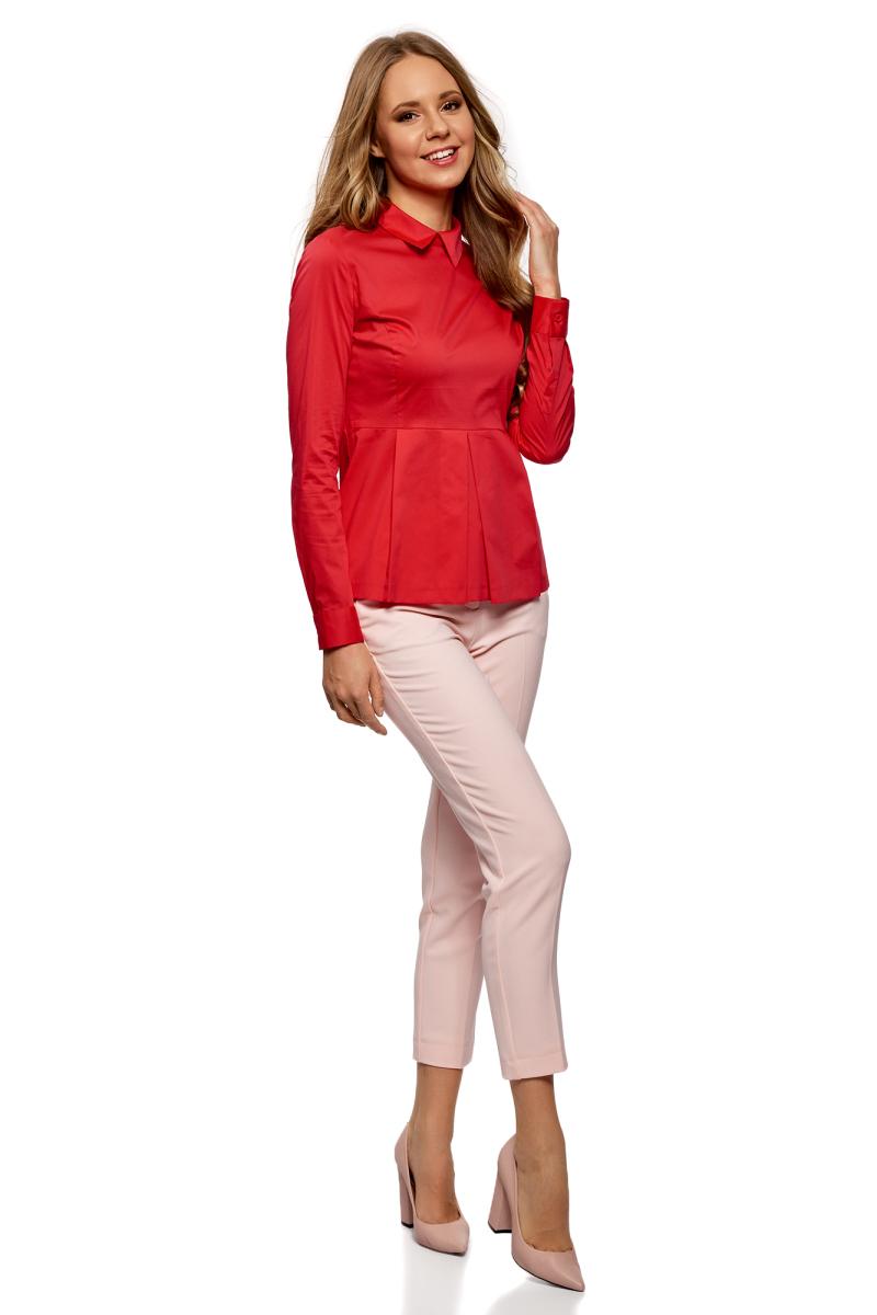 Блузка женская oodji Ultra, цвет: красный. 11400444B/42083/4502N. Размер 40-170 (46-170)11400444B/42083/4502NБлузка базовая с баской