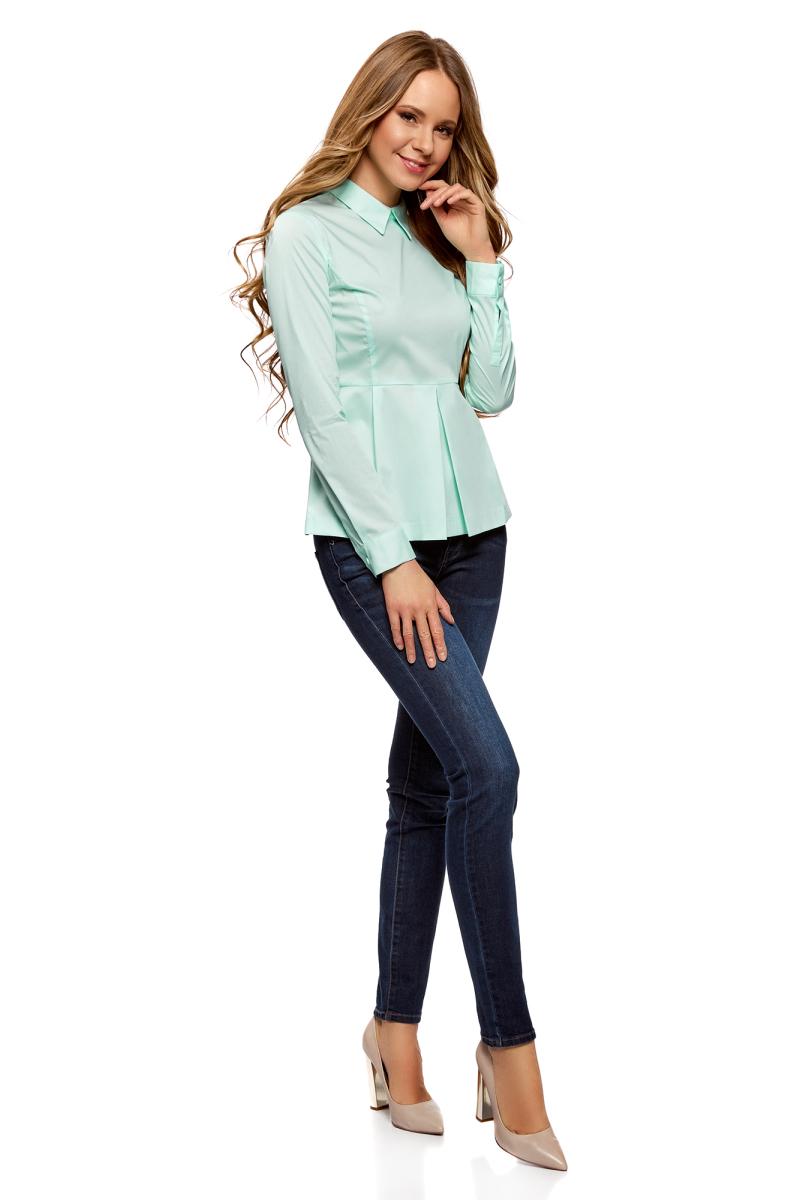 Блузка женская oodji Ultra, цвет: ментол. 11400444B/42083/6501N. Размер 44-170 (50-170) юбка oodji ultra цвет белый 11605061 35319 1000n размер 44 170 50 170