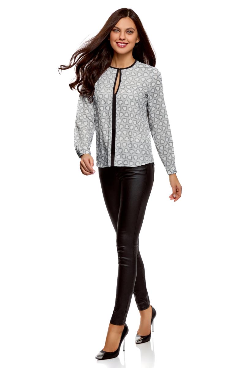 Блузка женская oodji Ultra, цвет: белый, черный. 11411059B/43414/1229O. Размер 36-170 (42-170) блузка женская oodji ultra цвет белый 11411062 1 43291 1200n размер 36 170 42 170