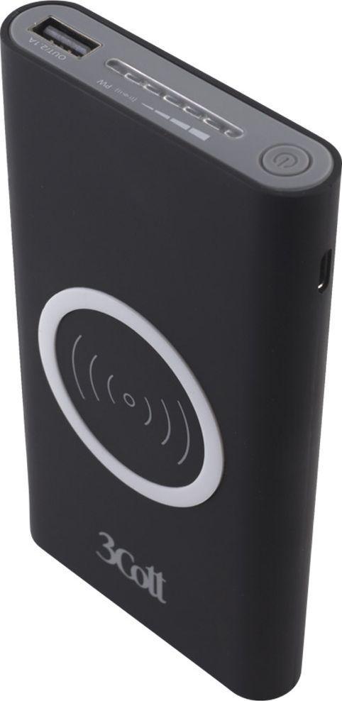 3Cott 3C-PB-80A, Black внешний аккумулятор с беспроводной зарядкой (8000 мАч)