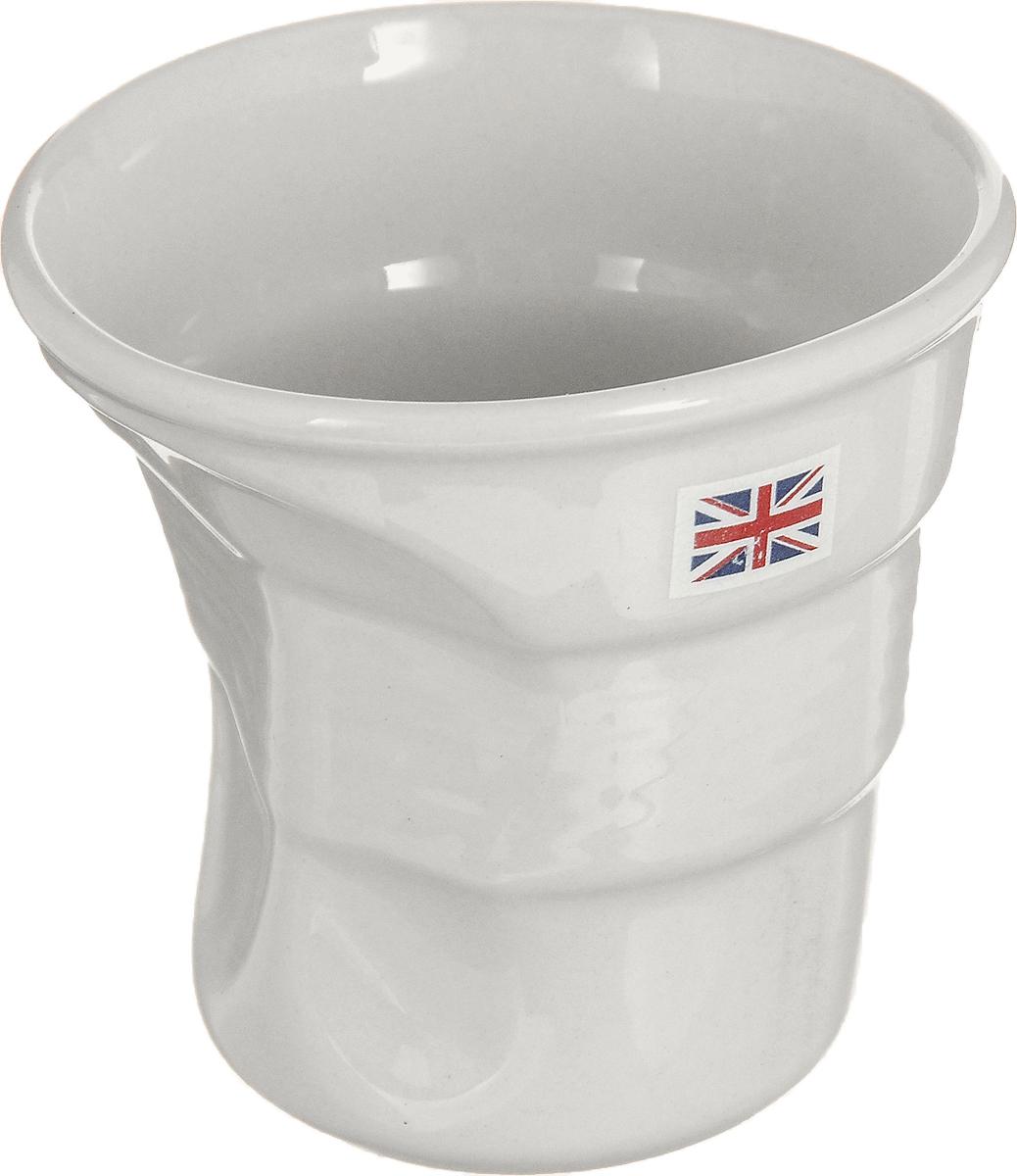 Стакан Карамба Английский флаг, цвет: белый, 150 мл3125Забавный небольшой керамический мятый стаканчик с изображением английского флага станет не только приятным, но и практичным сувениром.