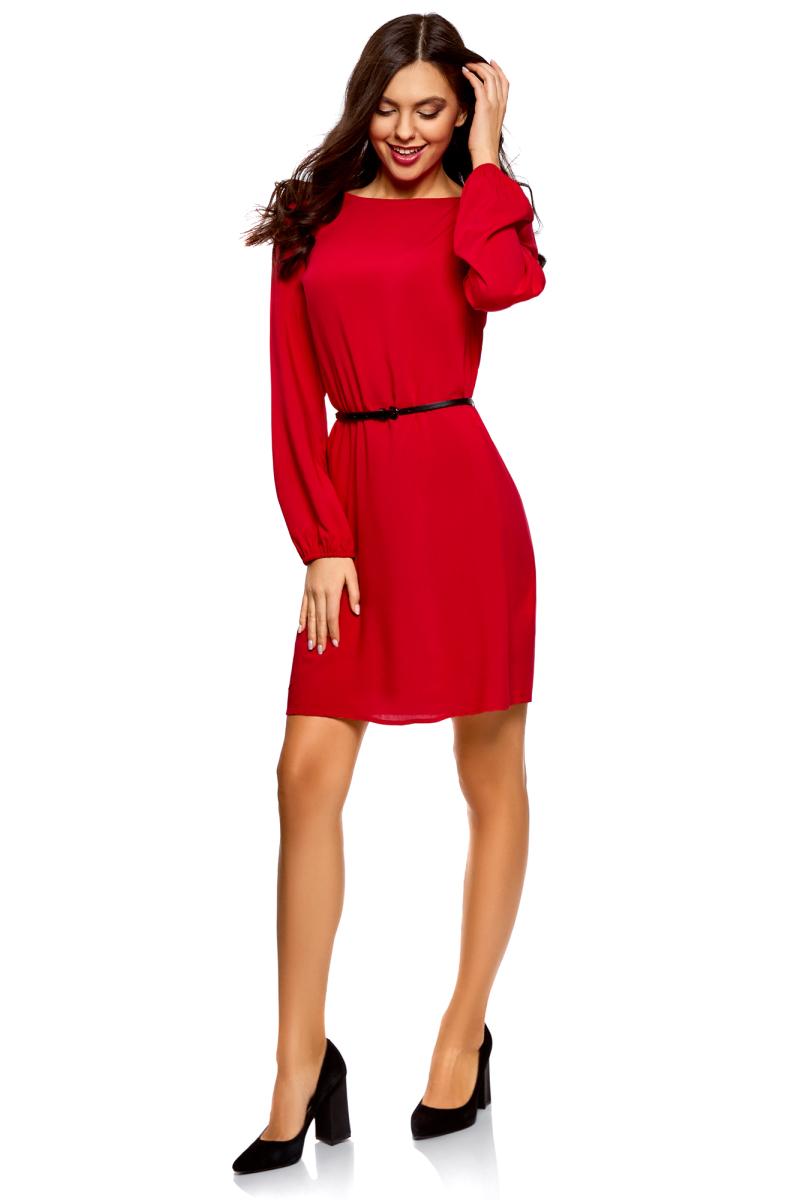 Платье oodji Ultra, цвет: красный. 11900150-15B/42540/4500N. Размер 36-170 (42-170)11900150-15B/42540/4500NПлатье от oodji выполнено из натуральной вискозы. Модель с длинными рукавами и круглым вырезом горловины на талии дополнена тонким ремнем из искусственной кожи.