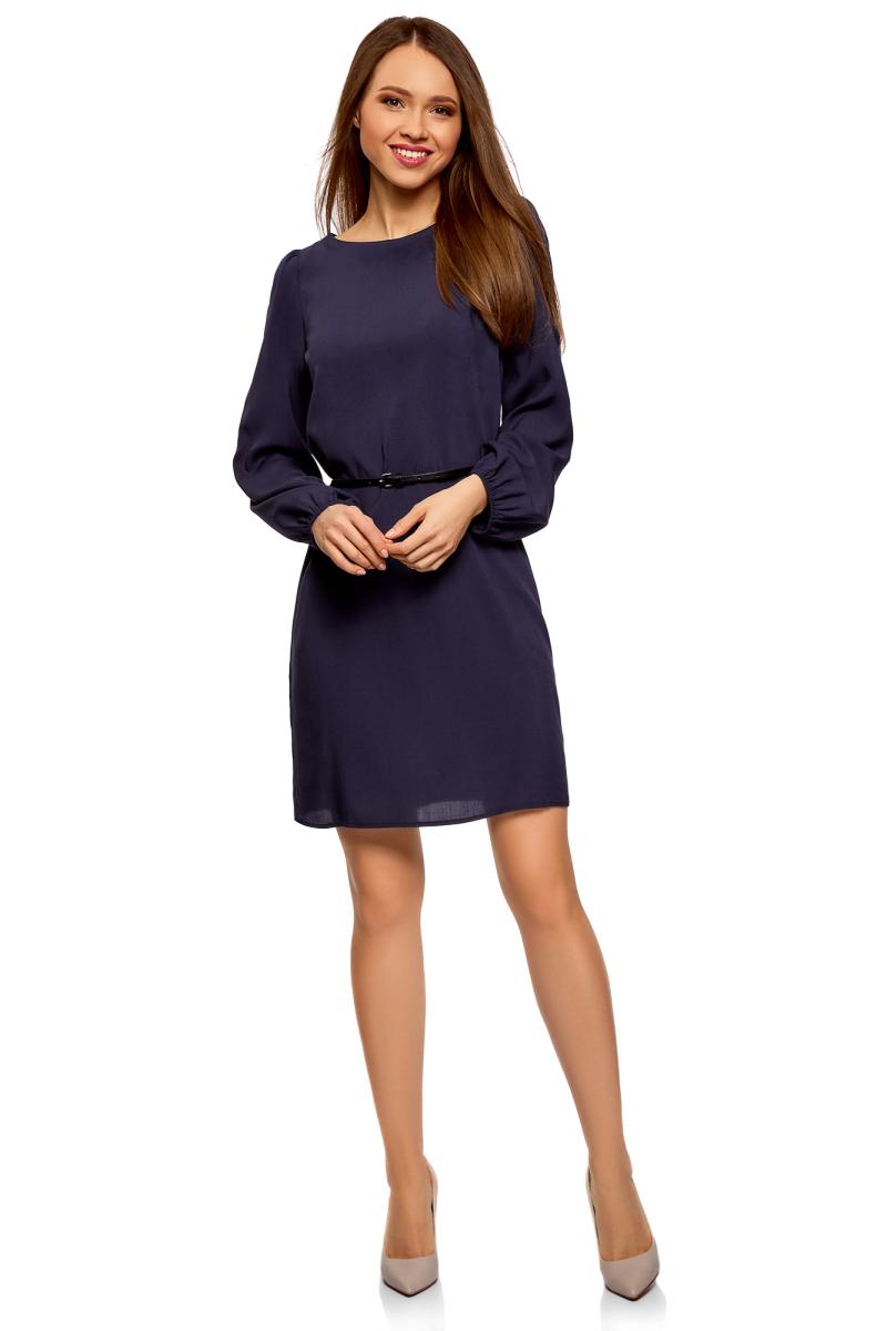Платье oodji Ultra, цвет: темно-синий. 11900150-15B/42540/7900N. Размер 38-170 (44-170)11900150-15B/42540/7900NПлатье от oodji выполнено из натуральной вискозы. Модель с длинными рукавами и круглым вырезом горловины на талии дополнена тонким ремнем из искусственной кожи.