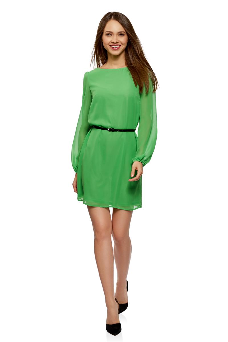 Платье oodji Ultra, цвет: зеленое яблоко. 11900150-16B/42816/6A01N. Размер 44-170 (50-170)11900150-16B/42816/6A01NПлатье от oodji выполнено из струящейся ткани. Модель с длинными рукавами и круглым вырезом горловины на талии дополнена тонким ремнем из искусственной кожи.