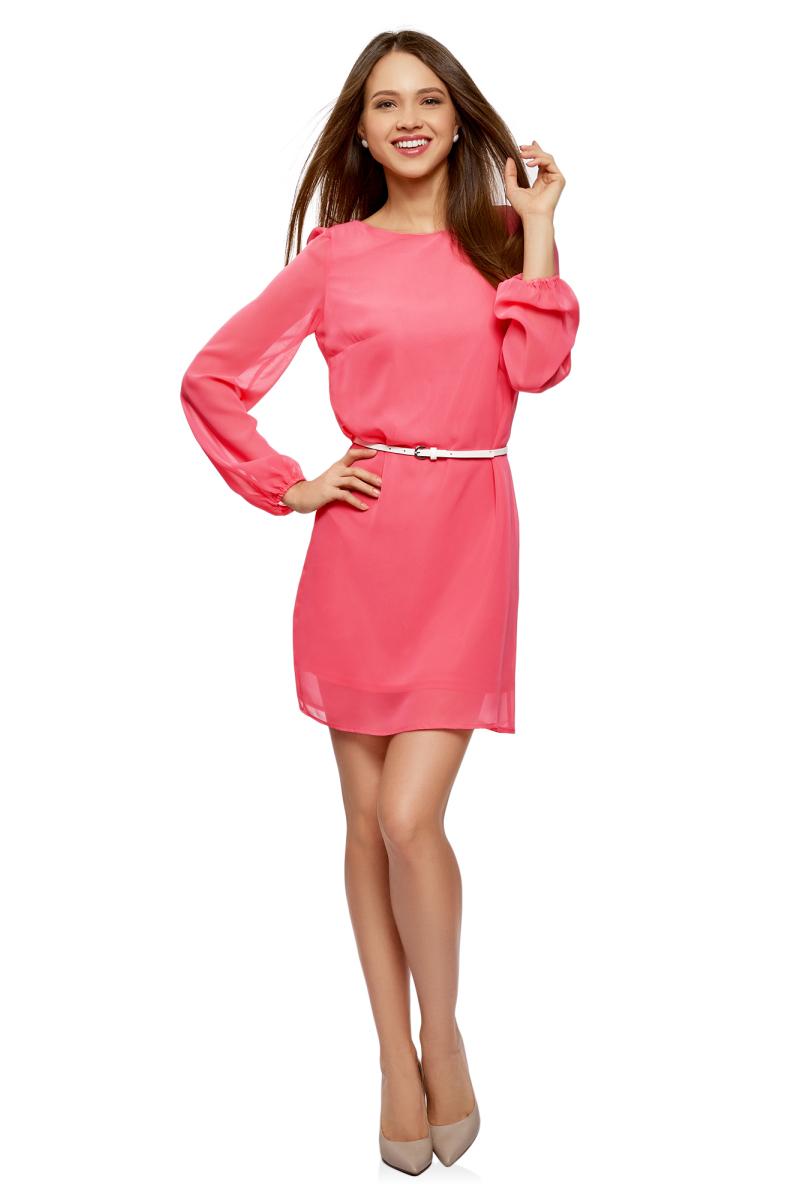 Платье oodji Ultra, цвет: ярко-розовый. 11900150-16B/42816/4D00N. Размер 40-170 (46-170)11900150-16B/42816/4D00NПлатье от oodji выполнено из струящейся ткани. Модель с длинными рукавами и круглым вырезом горловины на талии дополнена тонким ремнем из искусственной кожи.