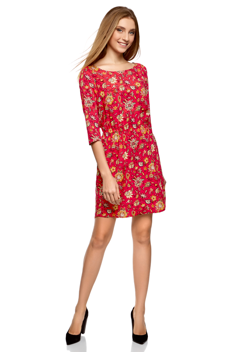 Платье oodji, цвет: красный, оранжевый, цветы. 11901153-1B/42540/4555F. Размер 44-170 (50-170)11901153-1B/42540/4555FПлатье oodji изготовлено из качественного материала. Модель выполнена с рукавами 3/4 и круглым вырезом горловины. Платье-миди на талии собрано на внутреннюю резинку.