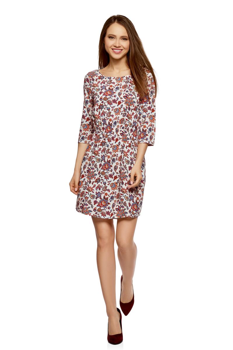 Платье oodji, цвет: светло-розовый, красный, цветы. 11901153-1B/42540/4045F. Размер 44-170 (50-170)11901153-1B/42540/4045FПлатье oodji изготовлено из качественного материала. Модель выполнена с рукавами 3/4 и круглым вырезом горловины. Платье-миди на талии собрано на внутреннюю резинку.