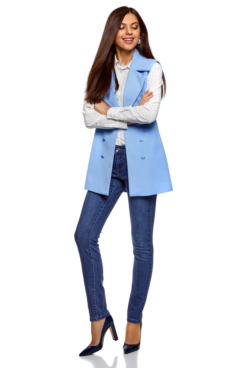 Джинсы женские oodji Ultra, цвет: синий джинс. 12103119-1B/46785/7500W. Размер 28-32 (46-32)12103119-1B/46785/7500WДжинсы от oodji выполнены из хлопкового денима. Модель Skinny с заниженной посадкой в поясе застегивается на пуговицу, имеет ширинку на молнии и шлевки для ремня. Джинсы имеют классический пятикарманный крой.