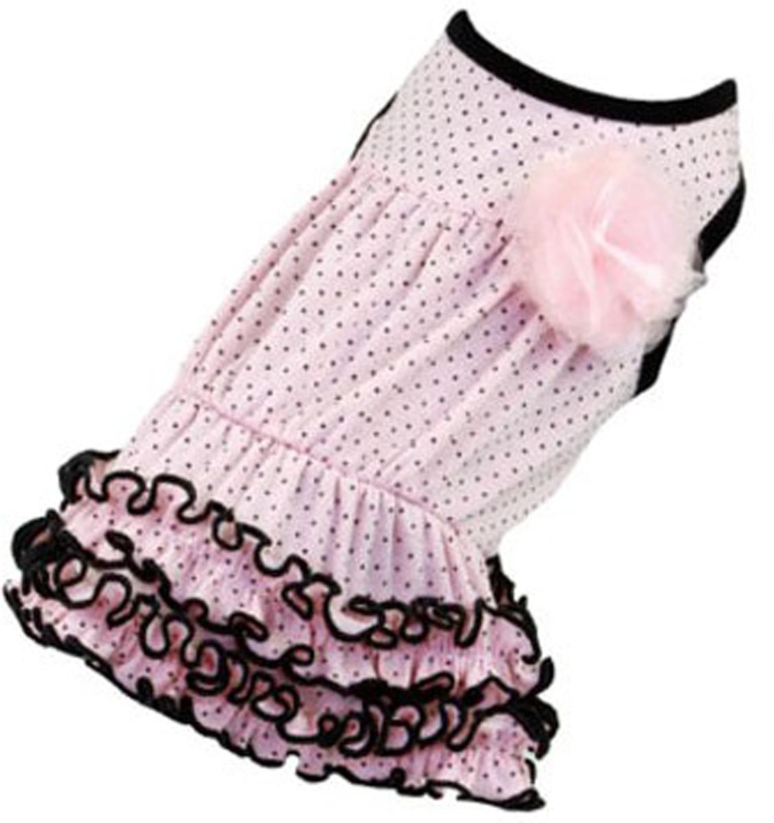 Платье для собак Dobaz, цвет: светло-розовый. ДА13019СХЛ. Размер XLДА13019СХЛШикарное платье с принтом в горошек Dobaz выполнено из плотного хлопка. На спинке декоративная брошь-цветочек. Юбочка оформлена рюшами. Модель идеально сидит и не сковывает движения. В таком платье ваша собачка будет самой красивой на прогулке. Обхват шеи: 34 см.Обхват груди: 54 см.Длина спинки: 36 см.Одежда для собак: нужна ли она и как её выбрать. Статья OZON Гид
