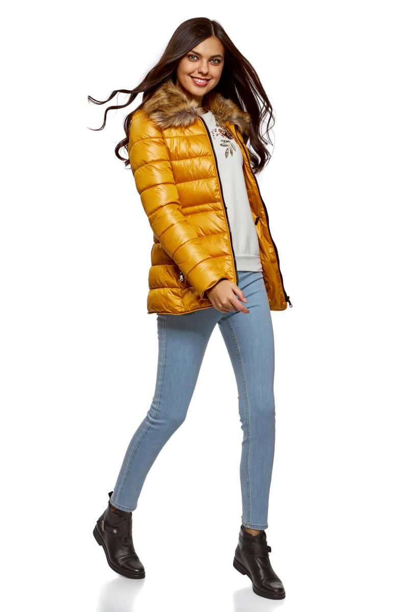 Джинсы женские oodji Ultra, цвет: голубой джинс. 12104065-1B/46734/7000W. Размер 28-30 (46-30) джинсы женские oodji ultra цвет светло синий 12104043 7b 46261 7501w размер 25 30 40 30