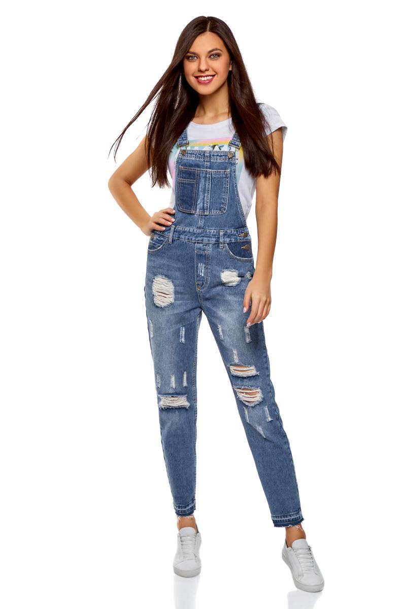 Полукомбинезон женский oodji Ultra, цвет: синий джинс. 13108002-1/45254/7500W. Размер 36-170 (42-170) платье oodji ultra цвет синий джинс 12909057 47408 7500w размер 44 170 50 170