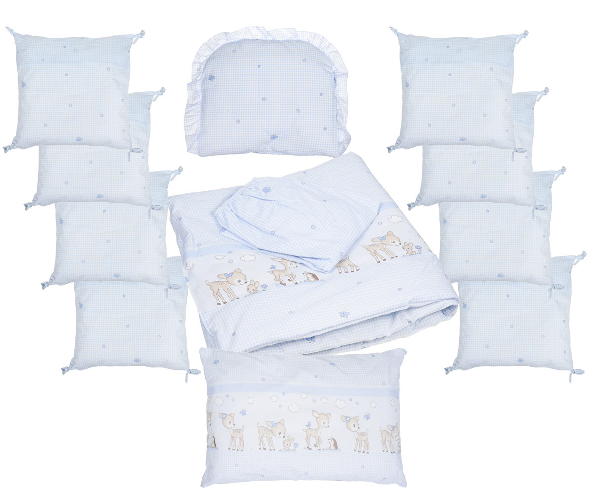 Сонный гномик Комплект белья для новорожденных Оленята цвет голубой 13 предметов427-10/1Превосходный комплект в кроватку Сонный гномик Оленята - это бортик из 10 подушек со съемными чехлами, плед, простыня на резинке и подушечка, сочетающие в себе натуральный и мягкий материал, который не вызовет аллергии у вашего малыша и ненавязчивый, но в то же время стильный и современный дизайн, который будет радовать малыша и его родителей.Размеры:- Бортик: 8 подушек 35 х 35 см, 2 подушки 40 х 60 см,- Подушка 35 х 30 см,- Простыня на резинке 110 х 145 см,- Плед 98 х 98 см.