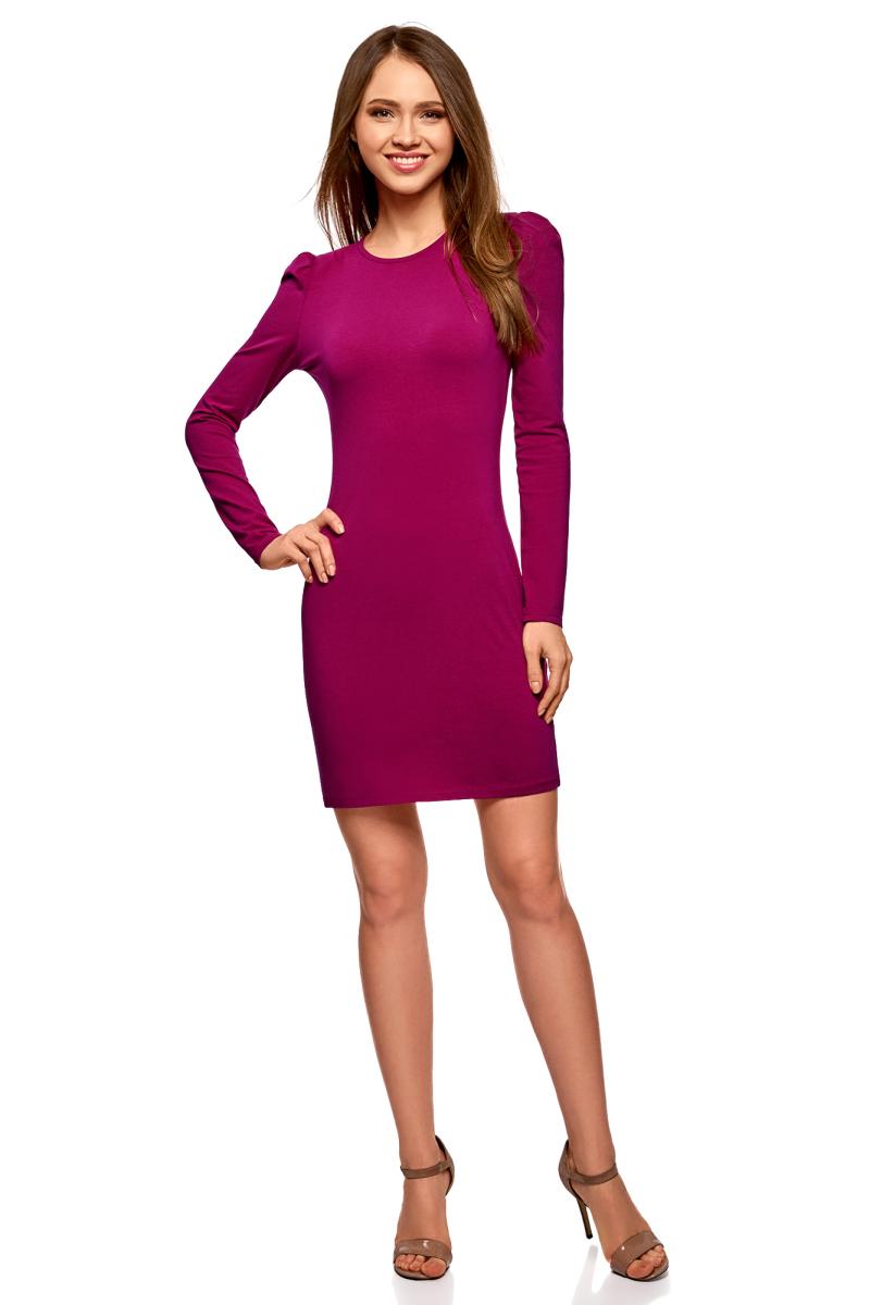 Платье oodji Ultra, цвет: ягодный. 14000171B/46148/4C01N. Размер M (46)14000171B/46148/4C01NСтильное мини-платье от oodji выполнено из эластичного хлопкового трикотажа. Модель приталенного кроя с длинными рукавами и круглым вырезом горловины.