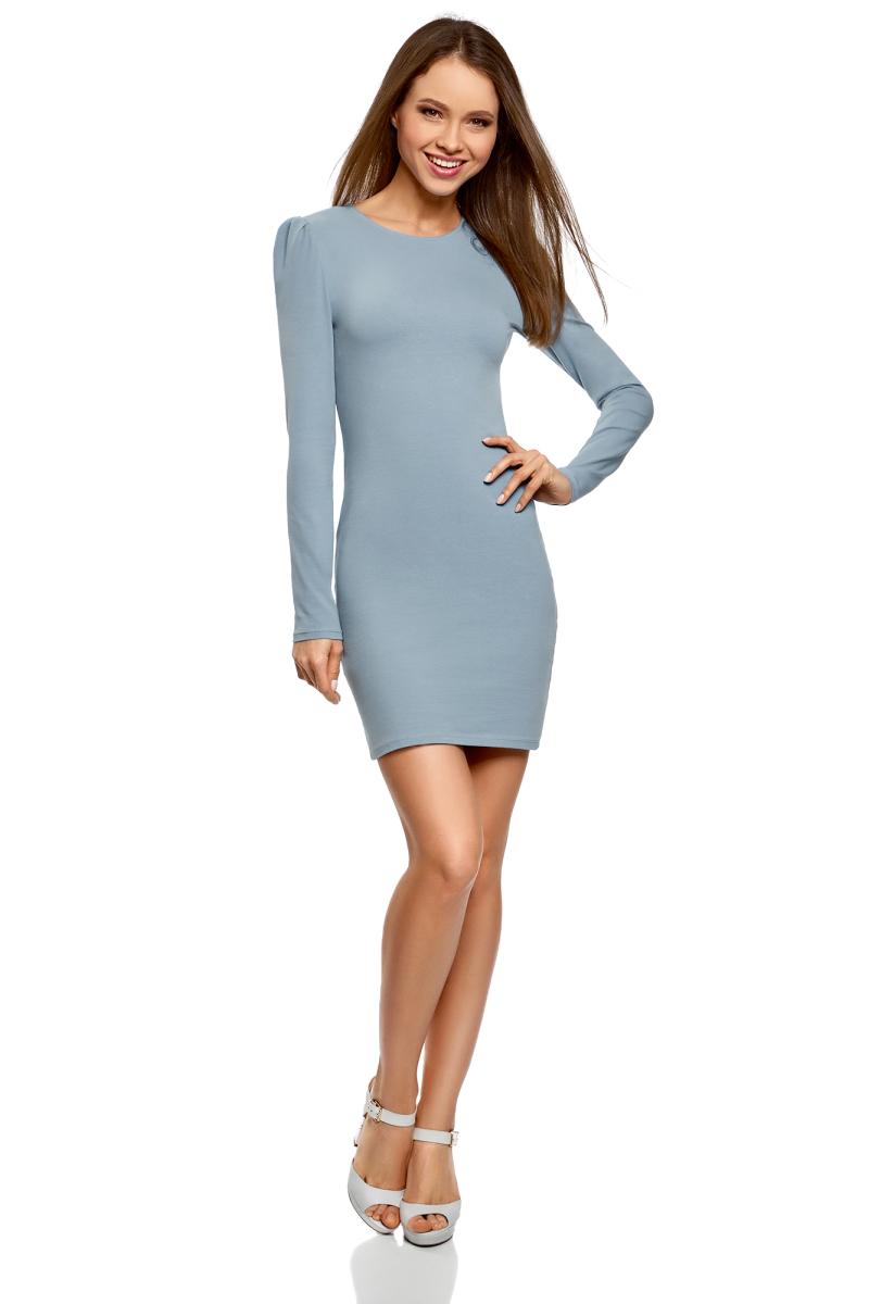 Платье oodji Ultra, цвет: серо-синий. 14000171B/46148/7401N. Размер XXS (40)14000171B/46148/7401NСтильное мини-платье от oodji выполнено из эластичного хлопкового трикотажа. Модель приталенного кроя с длинными рукавами и круглым вырезом горловины.