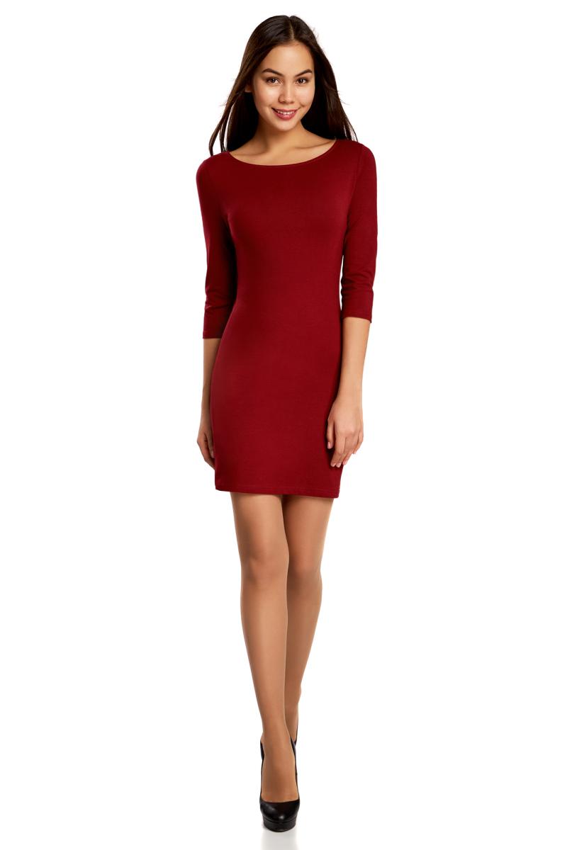 Платье oodji Ultra, цвет: бордовый. 14001071-2B/46148/4900N. Размер XXS (40)14001071-2B/46148/4900NСтильное платье oodji, выполненное из хлопка с добавлением эластана, отлично дополнит ваш гардероб. Модель длины мини с круглым вырезом горловины и рукавами 3/4.