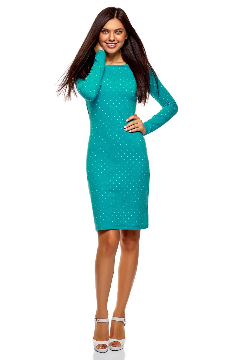 Платье oodji Ultra, цвет: бирюзовый, белый. 14001183/46148/7310D. Размер XS (42)14001183/46148/7310DСтильное мини-платье от oodji выполнено из эластичного хлопкового трикотажа. Модель приталенного кроя с длинными рукавами и круглым вырезом горловины.