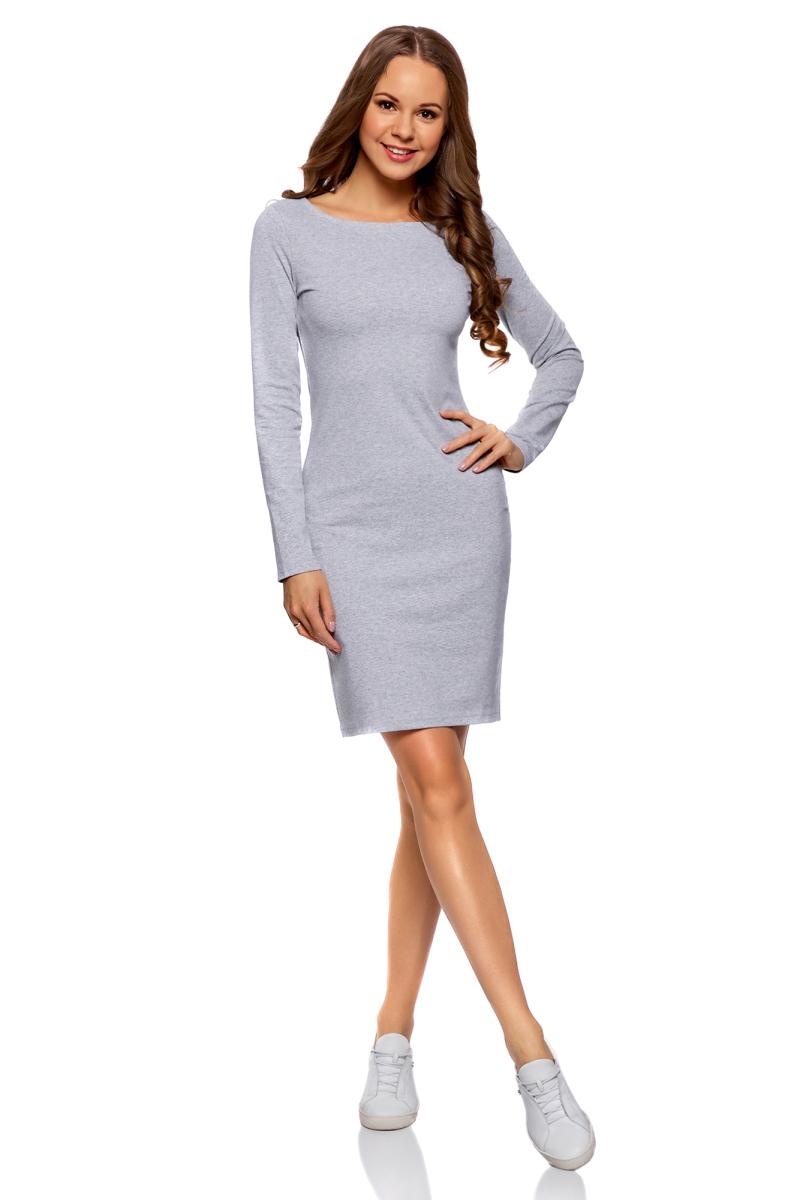 Купить Платье oodji Ultra, цвет: серый меланж. 14001183B/46148/2300M. Размер XS (42-170)