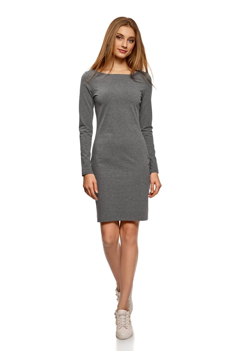 Платье oodji Ultra, цвет: темно-серый меланж, 2 шт. 14001183T2/46148/2500M. Размер XS (42)14001183T2/46148/2500MСтильное платье от oodji выполнено из эластичного хлопкового трикотажа. Модель облегающего силуэта с длинными рукавами и круглым вырезом горловины.В комплекте два платья.