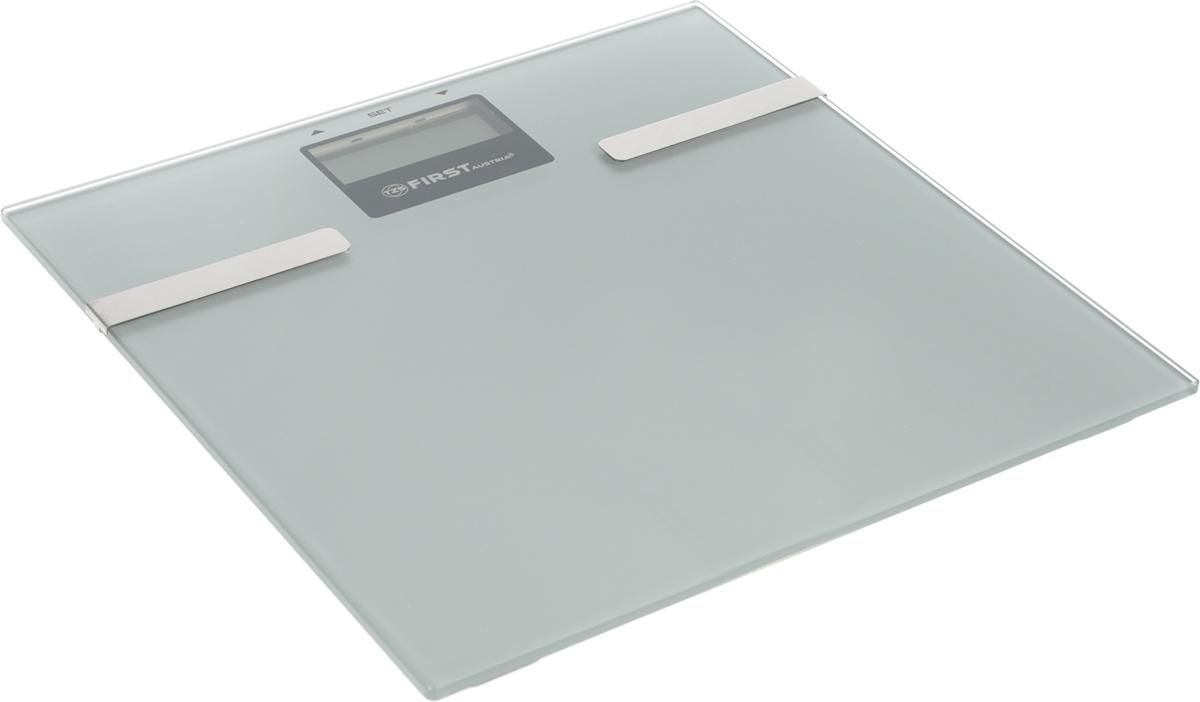 First FA-8006-3, Silver напольные весыFA-8006-3-SIНапольные электронные весы First FA-8006-3 - неотъемлемый атрибут здорового образа жизни. Они необходимы тем, кто следит за своим здоровьем, весом, ведет активный образ жизни, занимается спортом и фитнесом. Очень удобны для будущих мам, постоянно контролирующих прибавку в весе, также рекомендуются родителям, внимательно следящим за весом своих детей.
