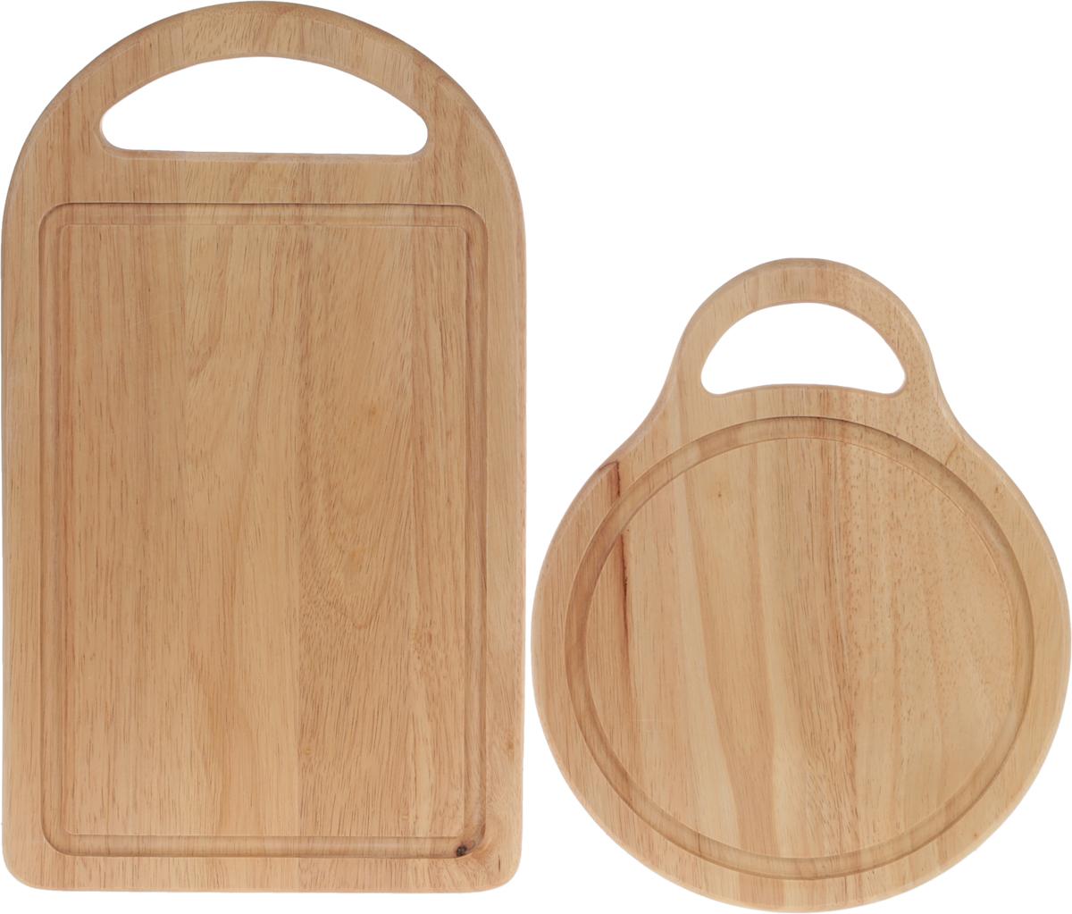 """Комплект """"Oriental Way"""", состоит из двух досок разного размера, изготовленных из древесины дерева  гевея. Доска имеет углубление для стока жидкости вдоль края и круглой разделочной доски  с ручкой.  Прочная древесина гевеи не портится от горячей воды и не впитывает влагу и запахи.  Размер большой доски: 40 х 23 х 2 см Размер малой доски: 30 х 24 х 1 см."""