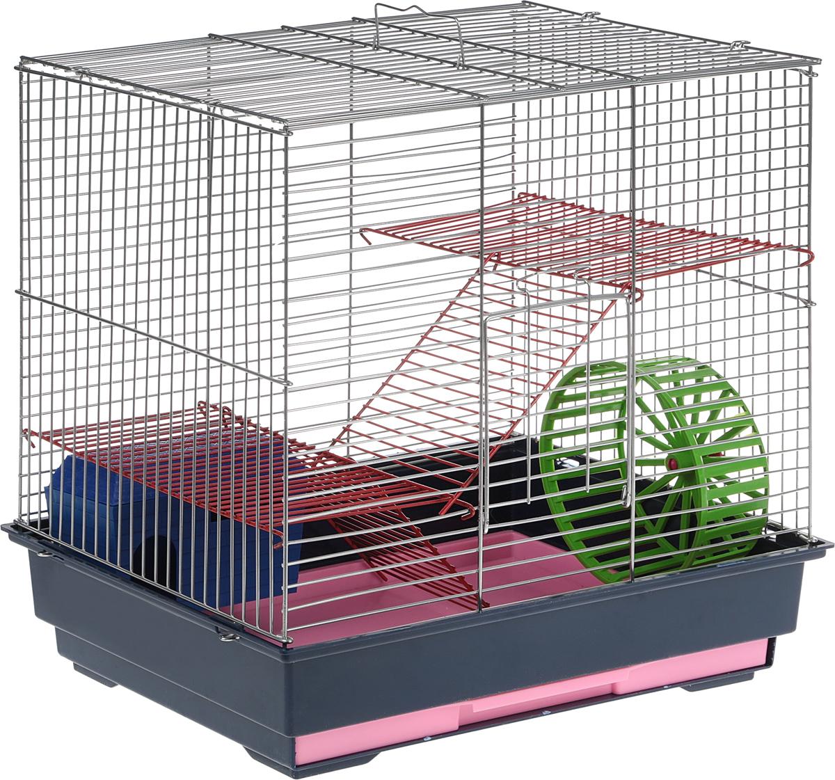 Клетка для грызунов Велес Lusy 3, 3-этажная, разборная, цвет: синий, 42 х 42 х 30 см305_синийРазборная клетка Велес Lusy 3, выполненная из полипропилена и металла, подходит для мелких грызунов. Изделие трехэтажное, оборудовано двумя лестницами, колесом и домиком. Клетка имеет яркий поддон, удобна в использовании и легко чистится. Сверху имеется ручка для переноски. Такая клетка станет уединенным личным пространством и уютным домиком для маленького грызуна.