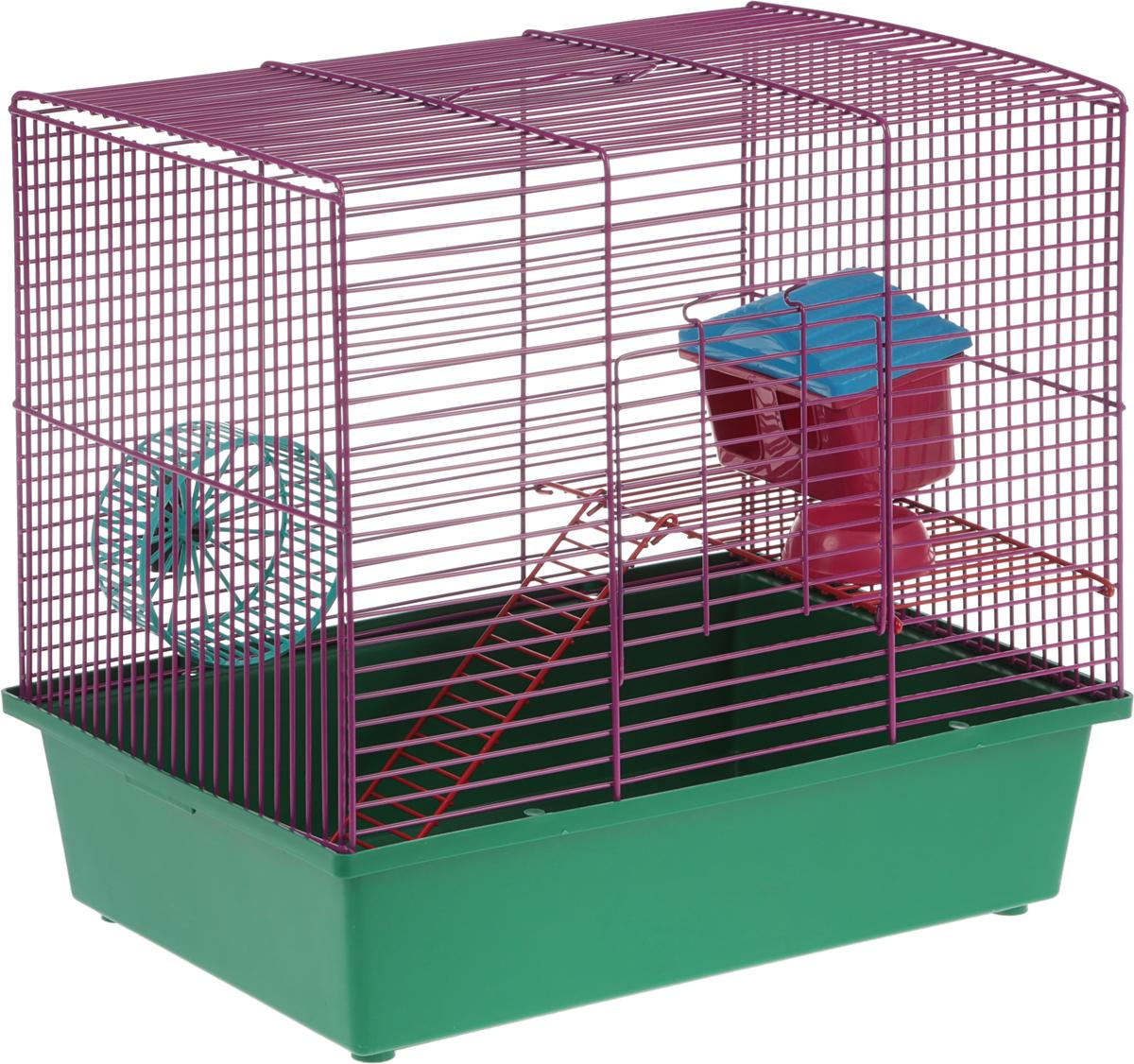 Клетка для грызунов Велес Lusy Hamster-2, 2-этажная, цвет: фиолетовый, зеленый, 35 х 26 х 26 см клетка для грызунов inter zoo teddy gigant 2 комплект для крыс 59х36х56см o c