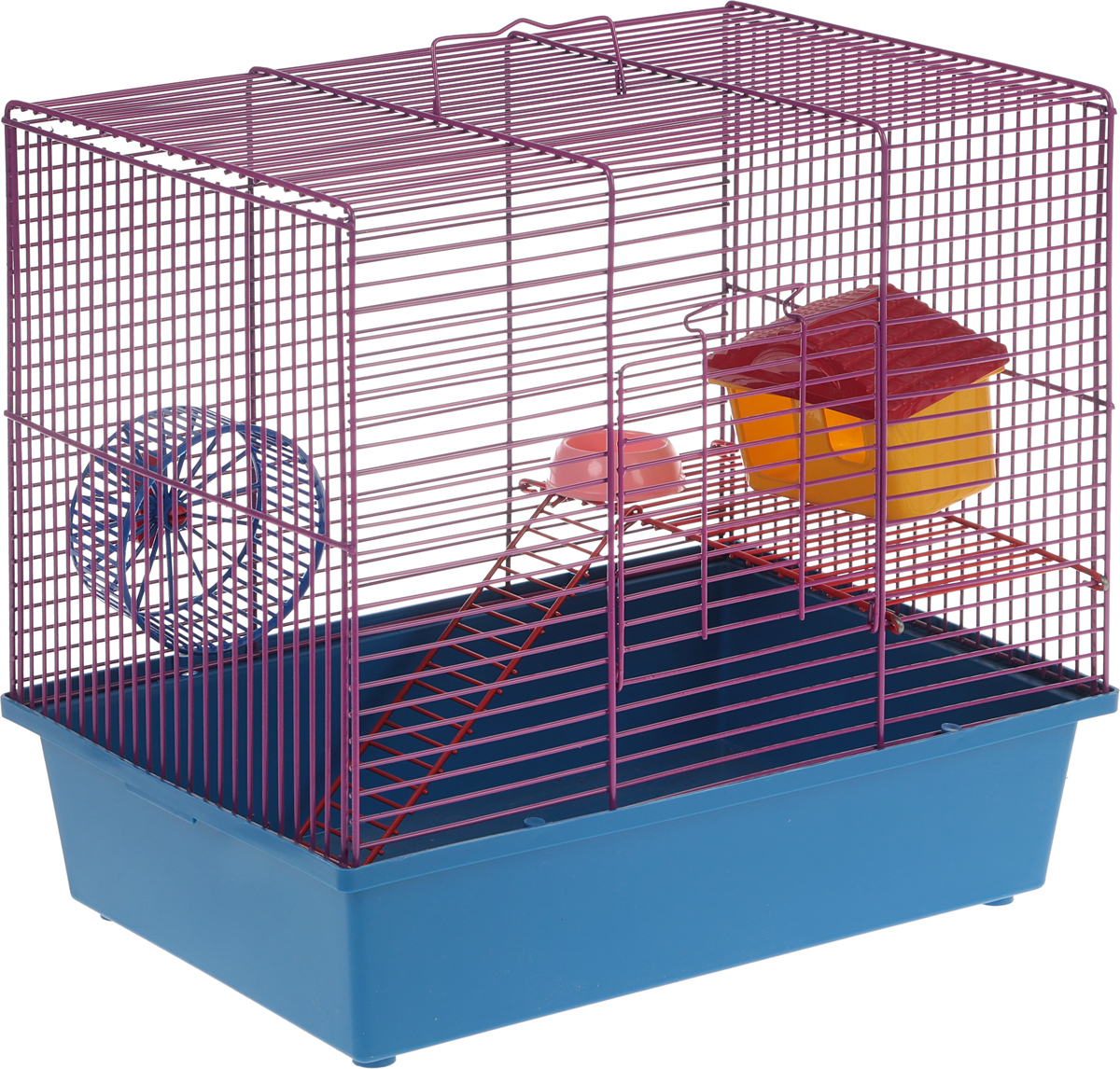 Клетка для грызунов Велес Lusy Hamster-2, 2-этажная, цвет: фиолетовый, синий, 35 х 26 х 26 см клетка для грызунов inter zoo teddy gigant 2 комплект для крыс 59х36х56см o c