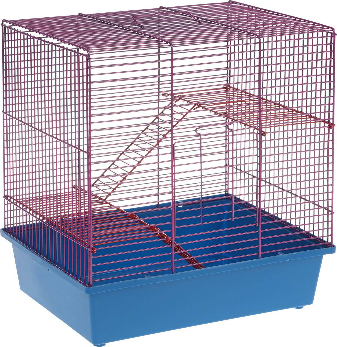 Клетка для грызунов Велес Lusy Hamster-3, 3-этажная, цвет: синий, фиолетовый, 35 х 26 х 40 см310_синийКлетка Lusy Hamster-2, выполненная из полипропилена и металла, подходит для мелких грызунов. Изделие двухэтажное, оборудовано лестницей. Клетка имеет яркий поддон, удобна в использовании и легко чистится. Сверху имеется ручка для переноски. Такая клетка станет уединенным личным пространством и уютным домиком для маленького грызуна.