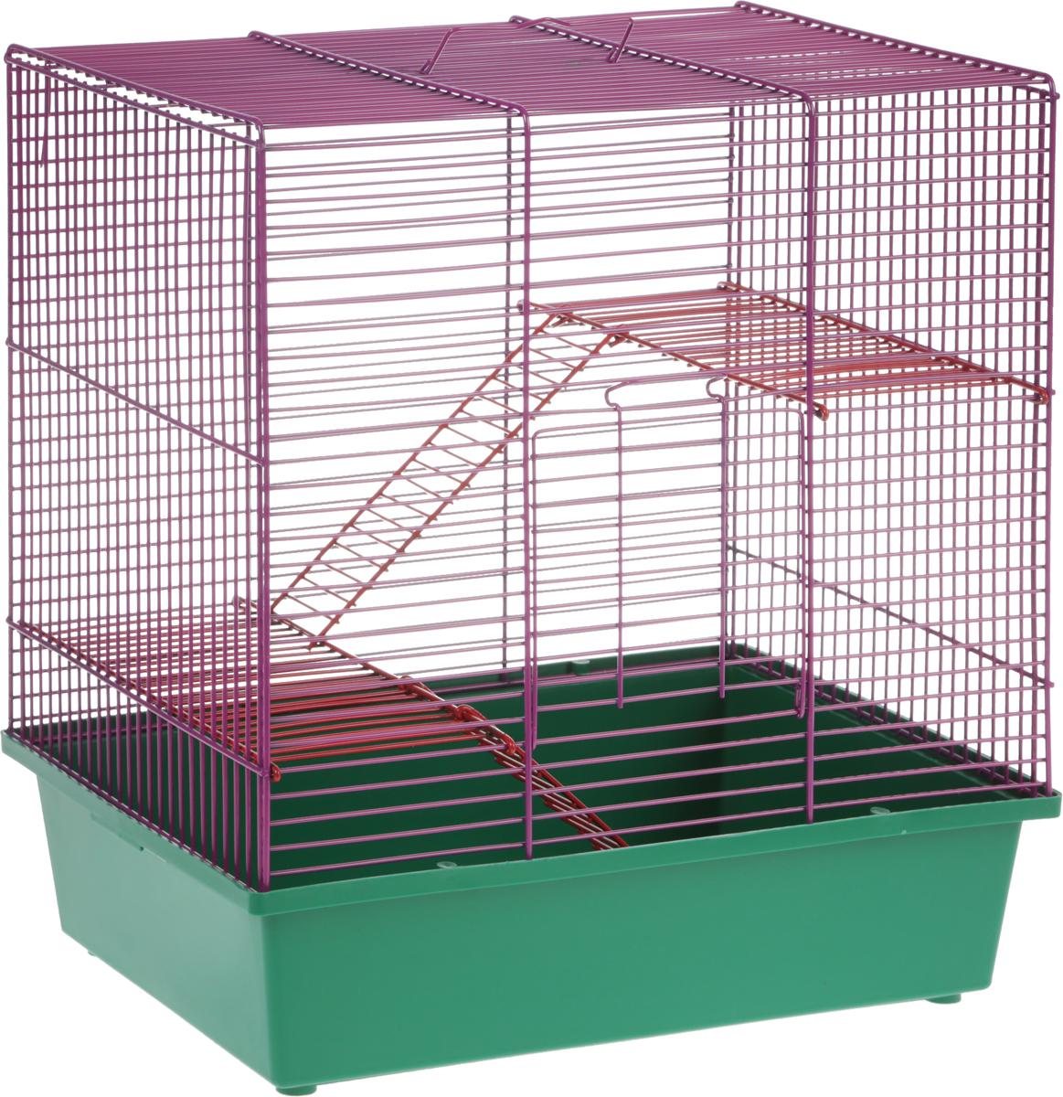 Клетка для грызунов Велес Lusy Hamster-3, 3-этажная, цвет: зеленый, фиолетовый, 35 х 26 х 40 см клетка для грызунов велес lusy hamster 2 2 этажная цвет синий бирюзовый 35 х 26 х 26 см