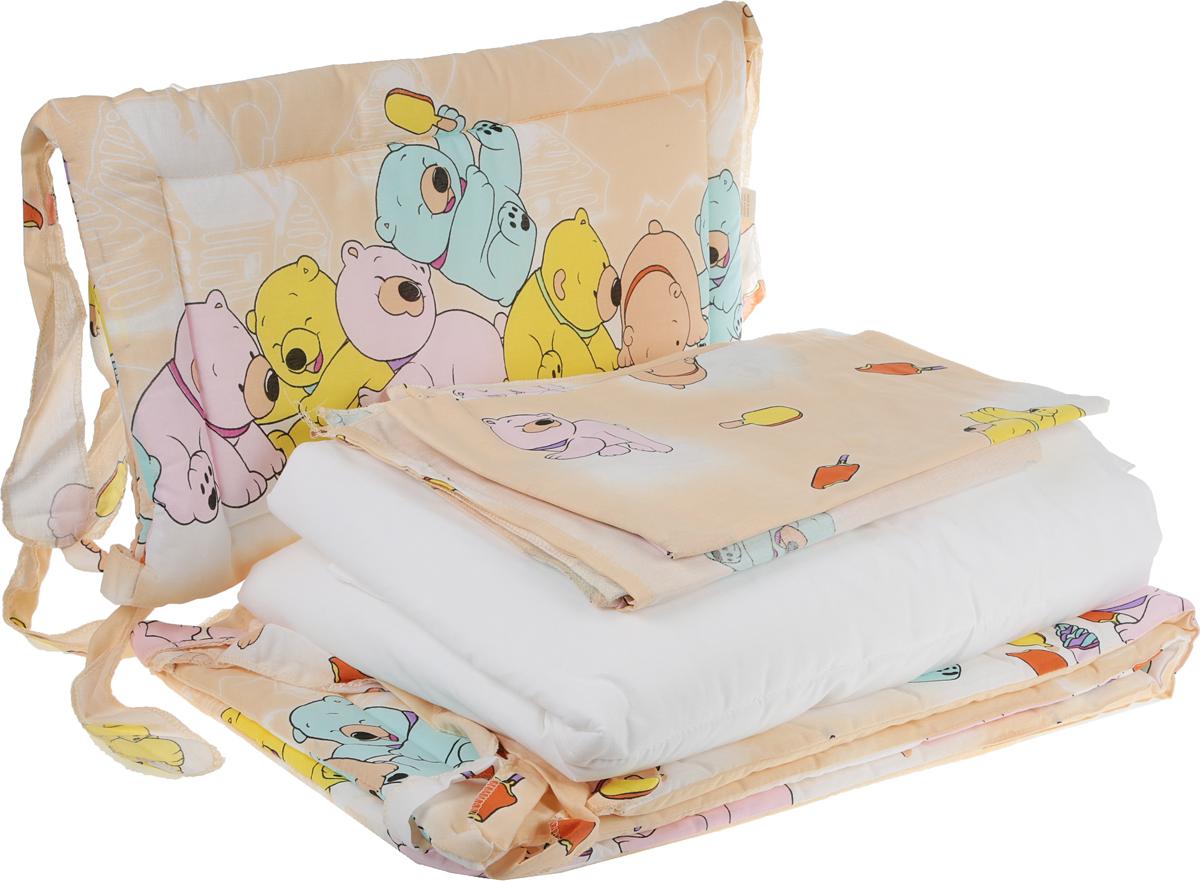 """Комплект в кроватку Фея """"Мишки и мороженое"""" состоит из простыни, подушки, наволочки, одеяла, пододеяльника  и бортиков. Комплект прекрасно подойдет для кроватки вашего малыша, добавит комнате уюта и согреет в прохладные дни. В качестве материала верха использован натуральный 100% хлопок высочайшего качества. Мягкая ткань не раздражает чувствительную и нежную кожу ребенка и хорошо вентилируется.   Одеяло, подушка и бортики комплекта наполнены экологически чистым наполнителем, который поддерживает  циркуляцию воздуха, сохраняет тепло, не боится влаги и быстро сохнет.  Очень важно, чтобы ваш малыш хорошо спал - это залог его здоровья, а значит вашего спокойствия. Комплект Фея """"Мишки и мороженое"""" идеально подойдет для кроватки вашего малыша. На нем ваш кроха будет спать здоровым и крепким сном.   Размеры комплекта:   Простыня: 100 х 160 см   Подушка: 40 х 60 см   Наволочка: 40 х 60 см   Одеяло: 110 х 140 см   Пододеяльник: 110 х 140 см   Борт в кроватку: 35 х 360 см."""
