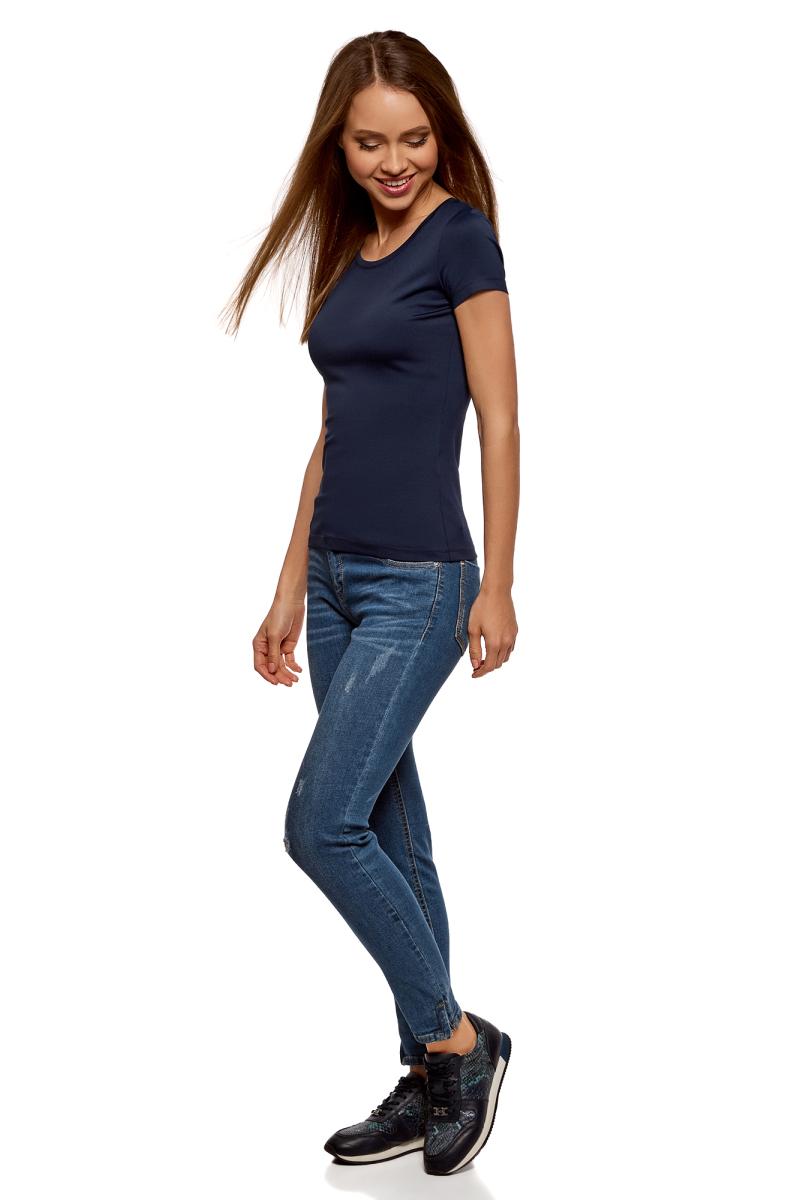 Футболка женская oodji Ultra, цвет: темно-синий. 14701005-15B/45297/7900N. Размер XS (42)14701005-15B/45297/7900NБазовая футболка от oodji выполнена из эластичного полиамида. Модель облегающего кроя с короткими рукавами и круглым вырезом горловины.