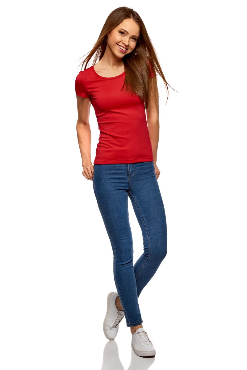 Футболка женская oodji Ultra, цвет: красный. 14701005-15B/45297/4500N. Размер S (44)14701005-15B/45297/4500NБазовая футболка от oodji выполнена из эластичного полиамида. Модель облегающего кроя с короткими рукавами и круглым вырезом горловины.